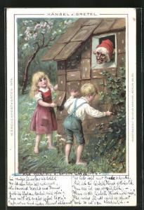 AK Hänsel und Gretel mit Hexe am Hexenhäuschen