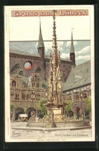 Künstler-AK Carl Biese: Lübeck, Markt mit Brunnen