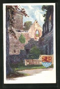 Künstler-AK Carl Biese: Hagen, Teilansicht der Burg, Wappen
