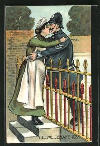 Künstler-AK The Policeman's Kiss, Polizist verabschiedet sich von seiner Frau