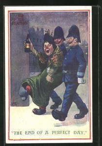 AK The end of the perfect day, betrunkene Frau wird von Polizisten abgeführt