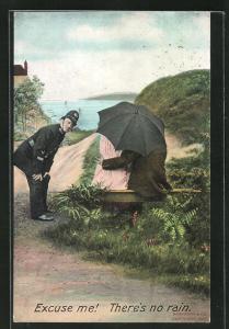 AK Polizist wundert sich über ein Paar mit Regenschirm bei trockenem Wetter