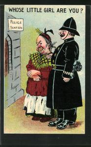 Künstler-AK Polizist mit alter Dame vor der Polizeistation