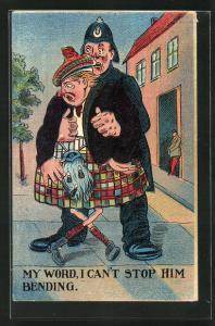 Künstler-AK Polizist mit einem betrunkenen Schotten