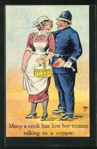 Künstler-AK Polizist mit Schinkenkeule und Hausfrau mit Korb in Schürze