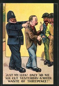 Künstler-AK Polizist führt einen Betrunkenen ab