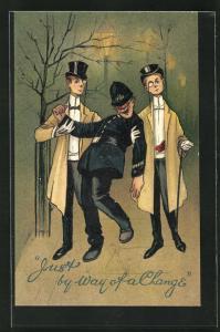 Künstler-AK zwei elegante gekleidete Herren stützen einen betrunkenen Polizisten