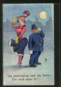 Künstler-AK Polizist grüsst bei Mondschein ein hübsches Fräulein