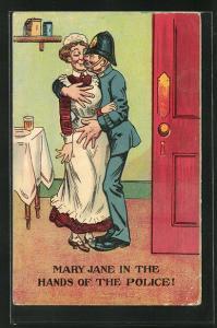 Künstler-AK Polizist küsst siene Mary Jane