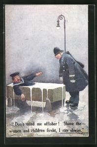 Künstler-AK Polizist blickt auf einen betrunkenen Seemann im Bad auf öffentlicher Strasse