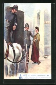 Künstler-AK Polizist mit Dame an einer Pferdekutsche vor der Polizeistation
