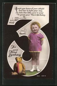 AK Mädchen mit Teddy als Geburtstagsgeschenk
