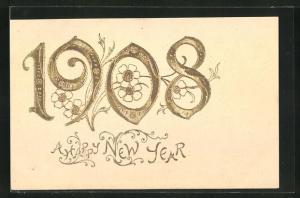 Präge-AK Blumen, Jahreszahl 1908, Neujahrsgruss