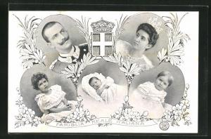 AK Famiglia Reale Italiana, Königliche Familie von Italien