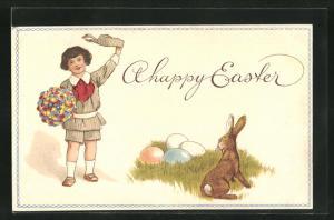 Präge-AK Junge mit Blumenstrauss, Osterhase & Ostereier