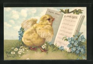 AK Osterküken vor einem Liederbuch