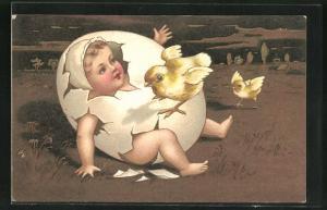 AK Baby schlüpft aus einnem Ei, Osterküken