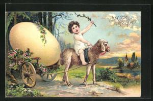 Präge-AK Osterei auf einem Wagen, Lammgespann