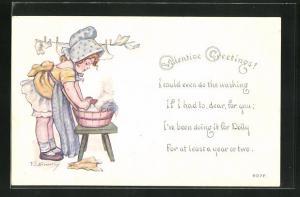 AK Valentinstag, Mädchen beim Wäsche waschen