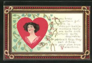 AK Valentinstag, Portrait einer Dame in einem Herz