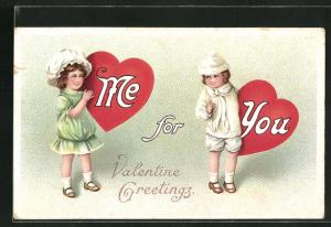 AK Valentinstag, Mädchen mit Herzen