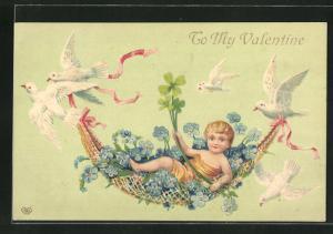 Präge-AK Valentinstag, Junge in einer Hängematte, Tauben & Vergissmeinnicht
