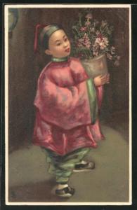 AK Chinesin mit Blumentopf