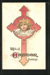 AK niedlicher Osterengel in einem Kreuz mit Sternen