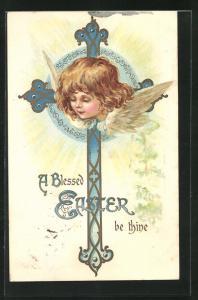 AK bezaubernder Osterengel im Kreuz