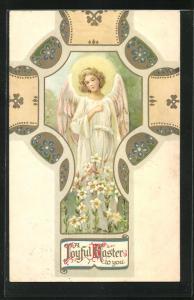 AK hübscher Osterengel auf einer Blumenwiese im Kreuz