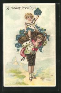 Präge-AK Knabe trägt Mädchen im Korb auf dem Rücken, Geburtstagsgruss