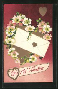 Präge-AK To my Valentine, Blumenherz und Liebesbrief zum Valentinstag