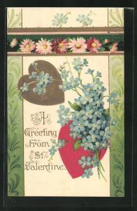 Präge-AK Valentinstag, Herzen und Blumen zum St. Valentine