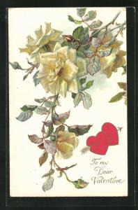 AK Valentinstag, Rosenzweig und mit Pfeil durchbohrte Herzen