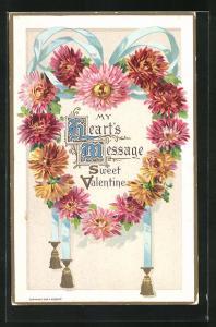 Präge-AK Sweet Valentine mit Blumenherz und blauer Schleife, Valentinstag