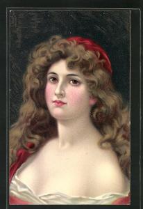 Künstler-AK Junge Frau mit offenem Haar und Kappe, Jugendstil