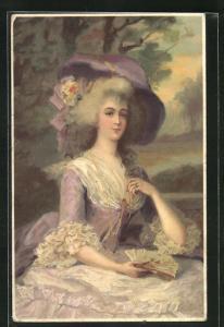 AK Schönheiten aus alter Zeit, Barock, Rokoko, Dame mit Hut und Fächer