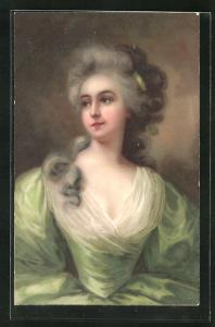 AK Miniaturen, Barock, Rokoko, Dame mit zusammengebundenem Haar