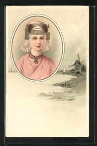 Lithographie Jung Holland, Frauenkopf mit traditioneller Haube