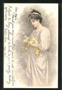Lithographie Im Blumenhain, Maid mit blühendem Zweig