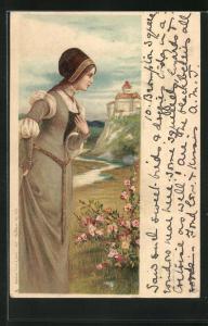 Lithographie Maid in mittelalterlicher Garderobe