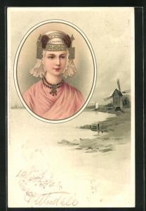 Lithographie Jung Holland, Frauenkopf mit historischer Haube