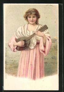 Lithographie Maid mit Laute