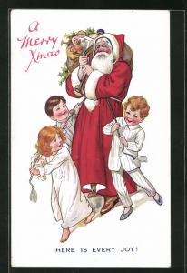 AK A Merry Christmas, Here is every Joy, Weihnachtsmann, Santa Claus