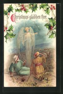 AK Christmas gladden thee, Hirten und Weihnachtsengel