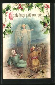 AK Christmas gladden thee, Weihnachtsengel erscheint Hirten