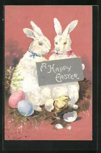 Präge-AK A happy Easter, weisse Osterhasen mit Küken
