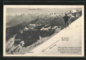 AK Lawinen-Unglück am Ortler am 5.3.1914, Blick zur Payerhütte
