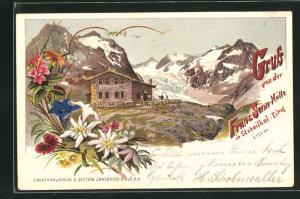 Lithographie Franz Senn-Berghütte im Stubaithal