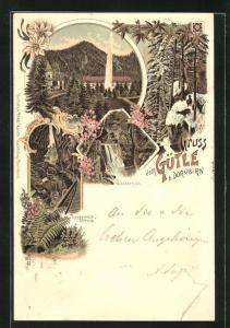 Lithographie Dornbirn, Blick auf das Gütle, Wasserfall, Rappenlochschlucht